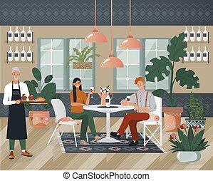カフェ, 届きなさい, マレ, ベクトル, 恋人, 特徴, illustration., 女, 平ら, 日付, コーヒー, 人, お茶, 士官, レストラン, 保温カバー, 座りなさい