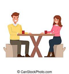 カフェ, 幸せ, illustration., 食べること, 恋人, バックグラウンド。, 白, ベクトル