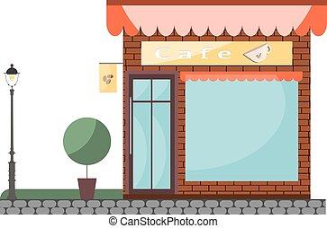 カフェ, 建物, objects., 隔離された, ベクトル, shop.
