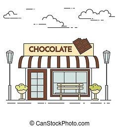 カフェ, lineout, ベンチ, チョコレート, ランプ, 花