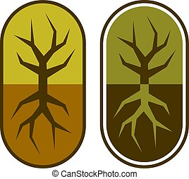 カプセル, シンボル, 木, 抽象的