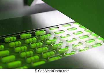 カプセル, タブレット, 機械, パッキング, 緑, パックされた