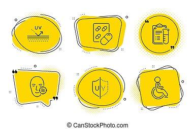 カプセル, 保護, uv, 丸薬, アイコン, ベクトル, 問題, 医学, ∥分析する∥, set., 不具, signs., 皮膚