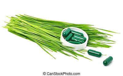 カプセル, 草, 丸薬, 緑, タブレット