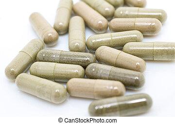 カプセル, andrographis, 治療, 乾かされた, medicine., 草, 新しい, paniculata, 時代