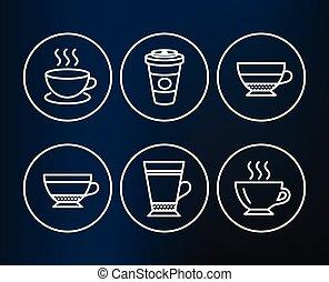 カプチーノ, カプチーノ, icons., latte, signs., テークアウト, 乾きなさい, コーヒー, ...