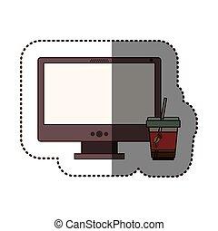 カプチーノ, シルエット, 色, ステッカー, デスクトップ, ガラス, コンピュータ
