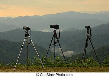 カメラマン, カメラ, tripods, 3, sunset.