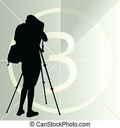 カメラマン, シルエット, ポスター, 数, 秒読み, ベクトル, 背景, フィルム