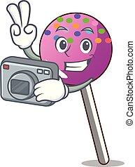 カメラマン, マスコット, 振りかける, lollipop, 漫画