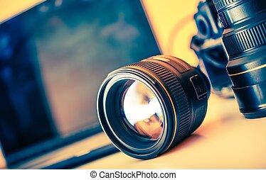 カメラマン, レンズ, 机