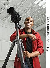 カメラマン, 中に, studio.
