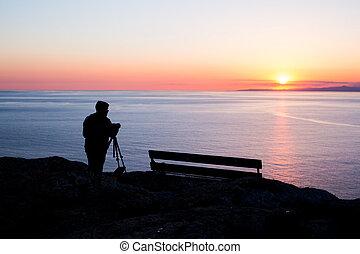 カメラマン, 写真を撮る, 日没, 海, 人