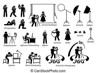 カメラマン, 写真撮影, 屋内, shooting.