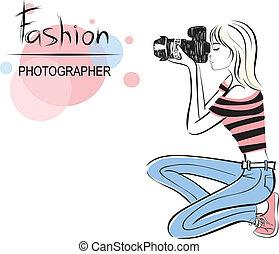 カメラマン, 女の子, ファッション, 美しさ