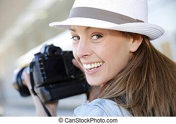 カメラマン, 微笑, セッション, 帽子, 写真