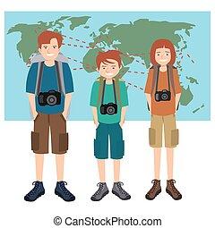 カメラマン, 旅行, ベクトル, 漫画, 家族