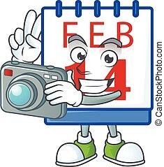 カメラマン, 特徴, 涼しい, カレンダー, 第14, カメラ, バレンタイン
