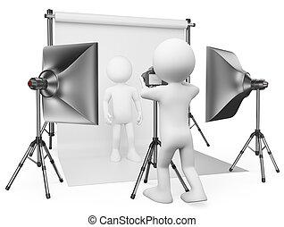 カメラマン, 白, スタジオ, 人々。, 3d
