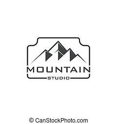 カメラマン, 自然, 冒険, デザイン, 写真撮影, 山, 屋外, 写真カメラ, ロゴ