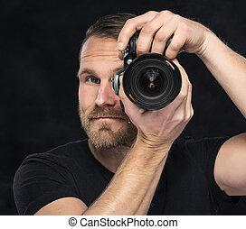 カメラマン, black., カメラ