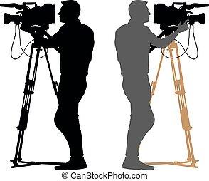 カメラマン, silhouette., ビデオ, 背景, オペレーター, 白