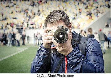 カメラマン, stadium., 取得, 写真