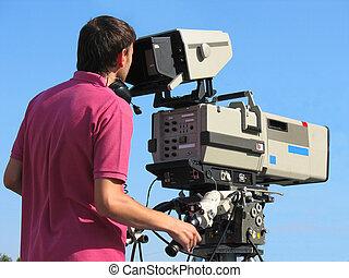 カメラマン, tv, 専門家, カメラ, ビデオ, デジタル, スタジオ