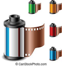 カメラ, セット, 回転しなさい, フィルム