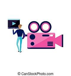 カメラ, ビデオ, 人