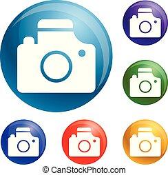 カメラ, ベクトル, セット, アイコン