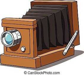 カメラ, ベクトル, 古い, イラスト