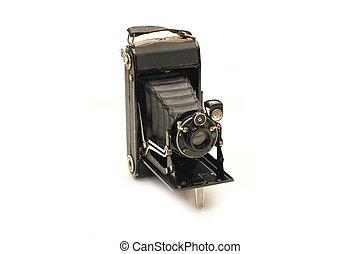 カメラ, レトロ, 隔離された, フォーマット, 媒体, 白