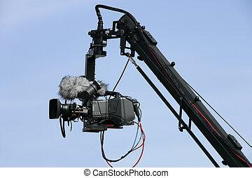 カメラ, 上に, クレーン, 活動中