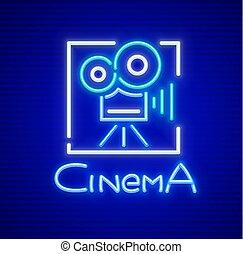 カメラ, 印, ネオン, レトロ, 映画館
