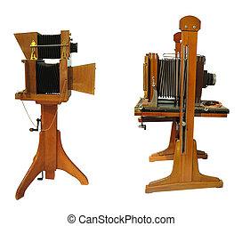 カメラ, 型, 木製である, 古い, 写真, 隔離された, ブラウン, 白い背景, 上に
