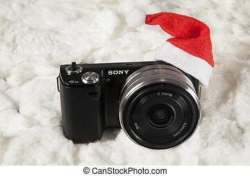 カメラ, 帽子, santa, デジタル