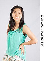カメラ, 微笑の 女性, アジア人