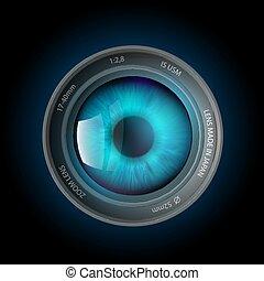 カメラ, 目, 中, レンズ