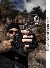 カメラ, 銃, 指すこと, 人