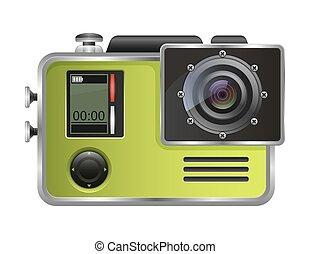 カメラ, 隔離された, バックグラウンド。, ベクトル, カム, 行動, 白