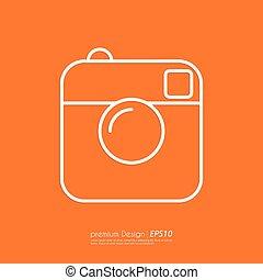 カメラ, icon., ベクトル, 線である, イラスト