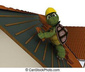 カメ, 屋根ふき, 建築業者