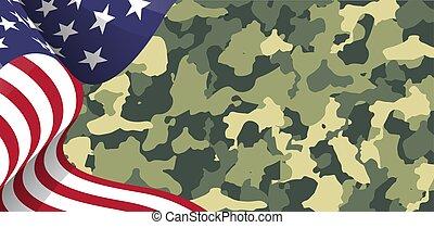 カモフラージュ, アメリカ人, 背景, 旗, イラスト, 愛国心が強い, 軍隊, アメリカ, 軍