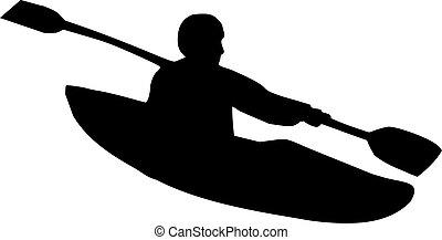 カヤックを漕ぐ, シルエット
