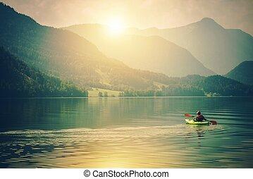 カヤック, 湖, 旅行