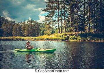 カヤック, 男性, 釣り