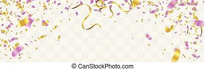 カラフルである, お祝い, 隔離された, イラスト, バックグラウンド。, 明るい, ベクトル, 紙ふぶき, 透明