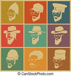 カラフルである, アイコン, 帽子, 人々, イラスト, ひげ