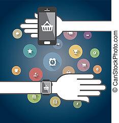 カラフルである, アイコン, smartwatch, 電話, ecommerce, 痛みなさい